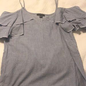 Drop shoulder blue &white striped top